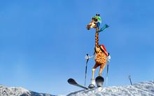 Happy Giraffe Wear Ski Stand On Top Of A Mountain