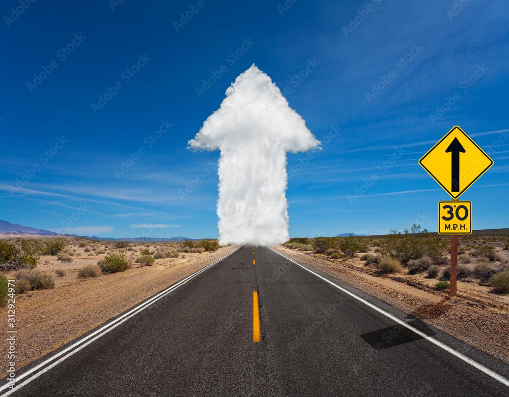 Fototapeta Cloud white arrow made of clods on the road