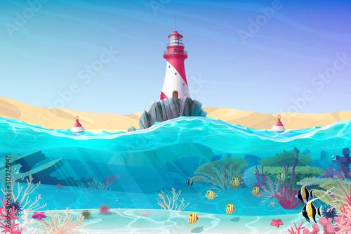 Obraz vector cartoon Lighthouse sea clipart - fototapety do salonu