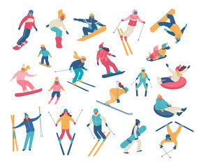 Fototapeta na wymiar Winter activities. Vector illustration of happy cartoon skiers, snowboarders and tubing people. Isolated on white