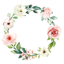 Wreath, Floral Frame, Watercol...