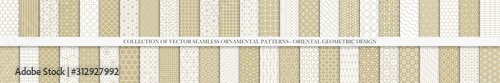 Obraz Collection of seamless geometric ornamental vector patterns. Grid oriental backgrounds. Vintage white and beige design - fototapety do salonu