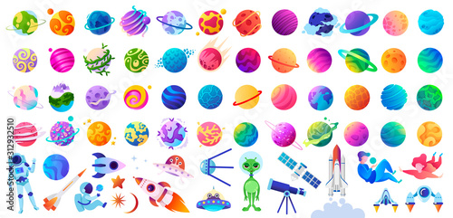 Big set of isolated space objects. Planets, UFOs, astronauts and rockets. Vector children's illustration.