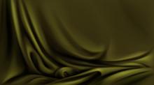 Olive Green Silk Cloth, Folded...