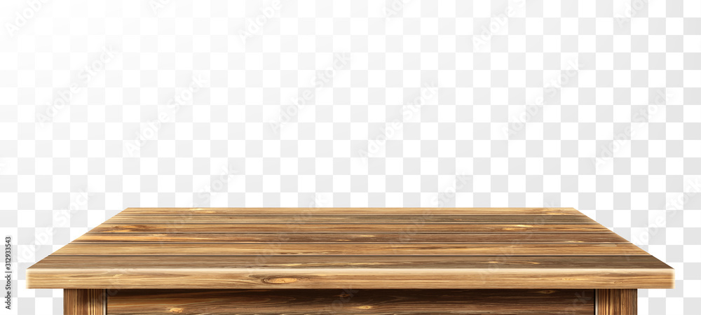 Fototapeta Wooden table top with aged surface, realistic vector illustration. Vintage dining table made of darkened wood, realistic plank texture. Empty desk top isolated on white wall.