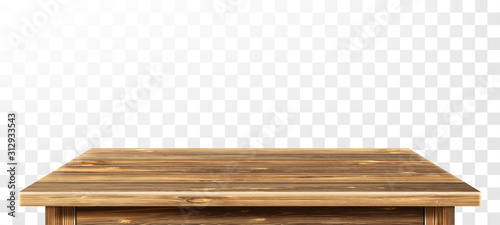Obraz Wooden table top with aged surface, realistic vector illustration. Vintage dining table made of darkened wood, realistic plank texture. Empty desk top isolated on white wall. - fototapety do salonu
