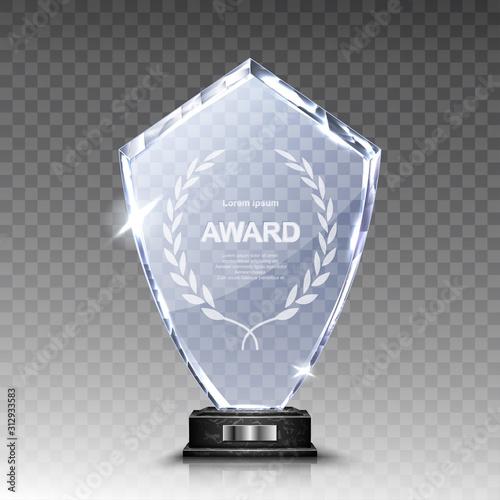 Fotografie, Obraz Glass award trophy or winner prize realistic vector illustration