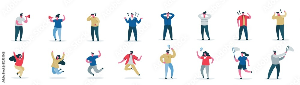 Fototapeta Male and female cartoon character showing different emotion set vector flat illustration. Collection of modern casual people in various poses isolated on white