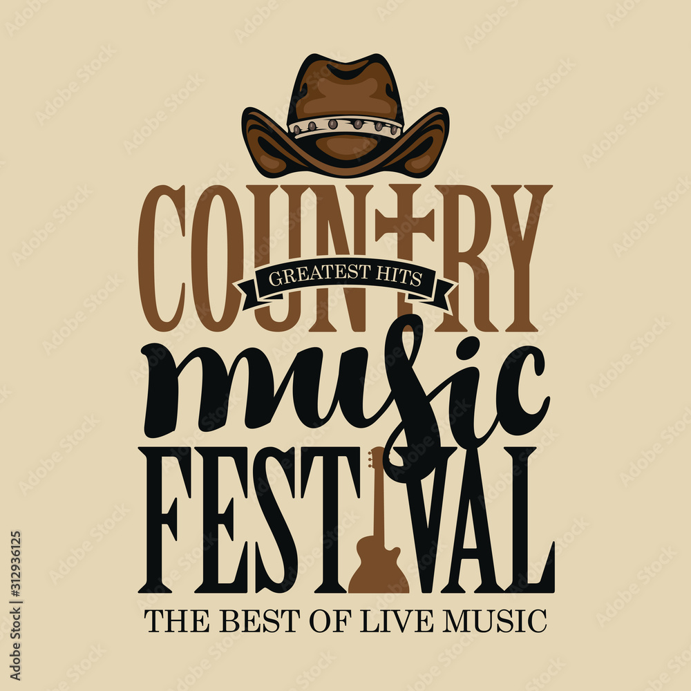 Fototapeta Vector poster for festival of country music on a light background in retro style. Creative lettering for t-shirt design with cowboy hat and electric guitar