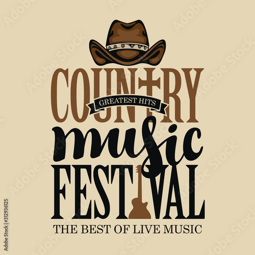Obraz Vector poster for festival of country music on a light background in retro style. Creative lettering for t-shirt design with cowboy hat and electric guitar - fototapety do salonu