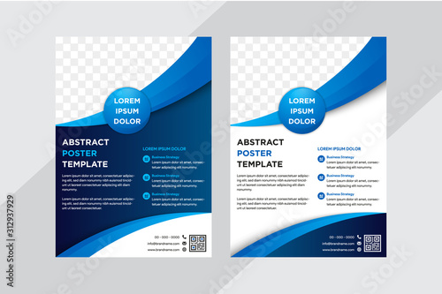 Obraz Template vector design for Brochure, AnnualReport, Poster, Corporate Presentation, Portfolio, Flyer, layout modern with gradient blue color size A4. white and blue background. space for photo - fototapety do salonu