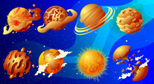 A Set Of Red-hot And Exotic Planets Of Our Possible Universe In A Cartoon Style.