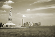 Statue Of Liberty And Twin Tow...