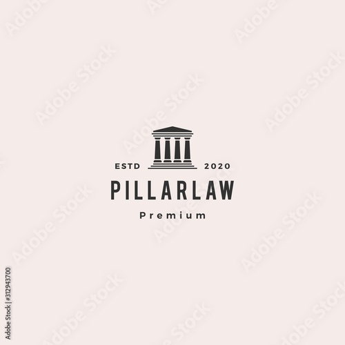 law pillar logo hipster vintage retro vector icon illustration Fototapete