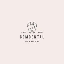 Gems Dental Logo Hipster Retro Vintage For Dentist And Dentistry