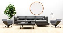 Large Luxury Modern Minimal Bright Interiors Room Mockup Round Frame Illustration 3D Rendering