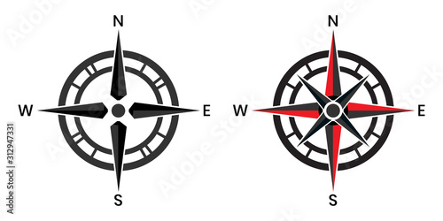 Photo Compass pointer icon with white background, Direction, map navigation symbol
