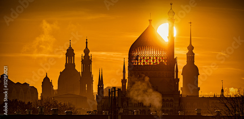 Dresden, Sonne, Panorama Canvas Print
