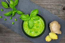 Tasty Pea Soup In Strong Green...