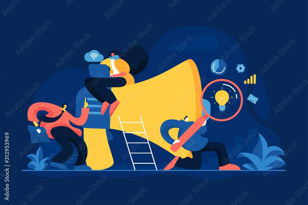 Fototapeta Partners cooperation. Colleagues coworking. Digital marketing team, success metrics, marketing team lead, team responsibilities concept. Vector isolated concept creative illustration