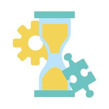 Gear, Hourglass And Jigsaw Piece