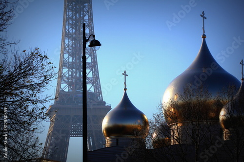 View of the Russian orthodox church Cathedrale de la Sainte Trinite near the Eiffel Tower in Paris, nicknamed Saint Vladimir, inaugurated in 2016 Canvas Print