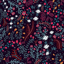Beautiful Floral Print With Various Forest Plants, Flowers, Berries On A Dark Background. Elegant Seamless Pattern In Burgundy, Green, Pink Colors. Hand Drawn Vector Illustration. Creative Design.