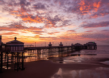 Blackpool`s North Pier At Sunset In December