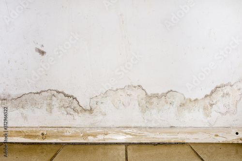Fotografia, Obraz Flooding rainwater or floor heating systems, causing damage, peeling paint and mildew