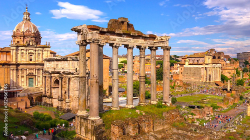 Top view of ancient ruins of the Roman forum or Forum Romanum in Rome, Italy Wallpaper Mural