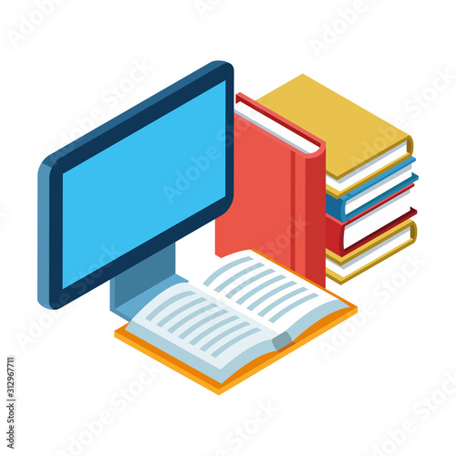 Photo academic books and computer screen