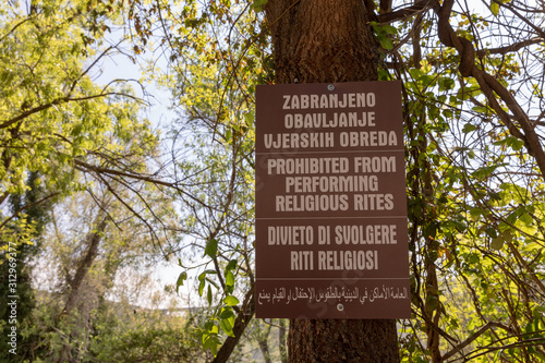 Bosnia and Herzegovina, april 2019: Sign by the Kravice waterfall: Prohibited fr Fototapeta