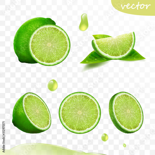 3D realistic vector set of elements, whole lime, sliced lime, drop lime oil, lea Fototapet