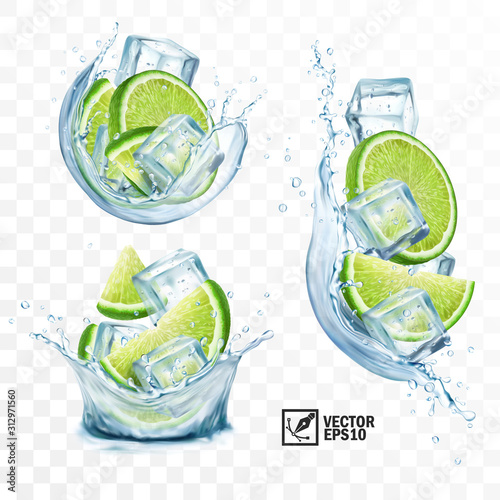 Fotografia, Obraz 3D realistic transparent vector set splash mojito, Ice cubes, mint leaves, water
