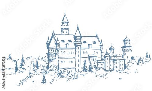 Famous German castle. Vector drawing Tapéta, Fotótapéta