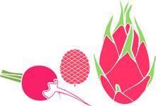 Set Of Pink Fruits And Vegetab...