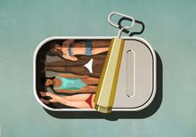 Women Sunbathing Inside Sardin...