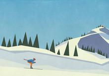 Downhill Skier Descending Snow...