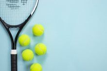 Tennis Ball And Racket Isolated Background. Top View
