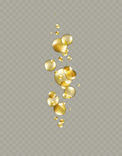 Gold Bubbles Isolated On Transparent Background. Cosmetic Vitamin Capsule Balls Or Oil Pills. Vector Golden 3d Serum Collagen Essence..