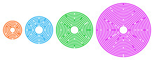 Four Colored Circular Mazes In Different Sizes. Radial Labyrinths In Orange, Blue, Green And Pink Color On White Background. Find A Route From The Entrance To The Centre. Illustration. Vector.