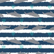 Vector Blue Stripes Shark Pen ...