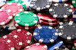 Poker chips close up background. Casino concept, risk, chance, good luck or gambling. Detail of casino chips