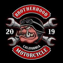 Vector Of Biker Pig Or Hog For Motorcycle Club Logo