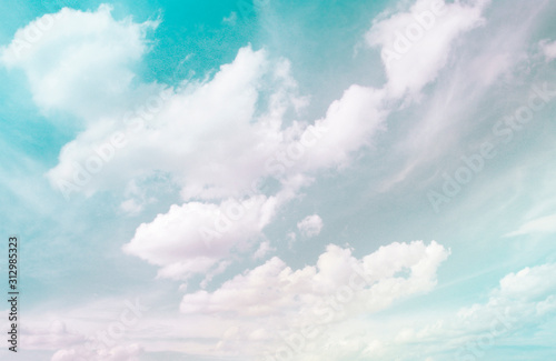 Sky and clouds in vintage style, gradient of pastel colors Canvas Print