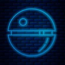 Glowing Neon Line Death Star I...