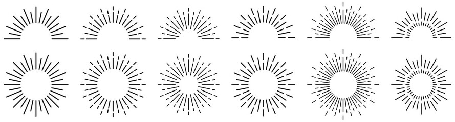 Sunburst line illustration. Sunrise. Vector