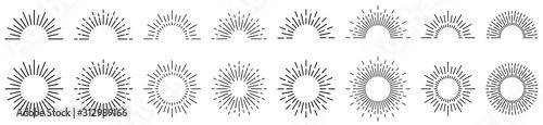 Fotografía Sunburst line illustration. Sunrise. Vector illustration