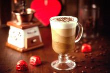 Chocolate Coffee Cream Mousse Three Chocolates And Whipped Cream In A Tall Glass Glass On A Wooden Background. Delicious Sweet Dessert. Soft Focus