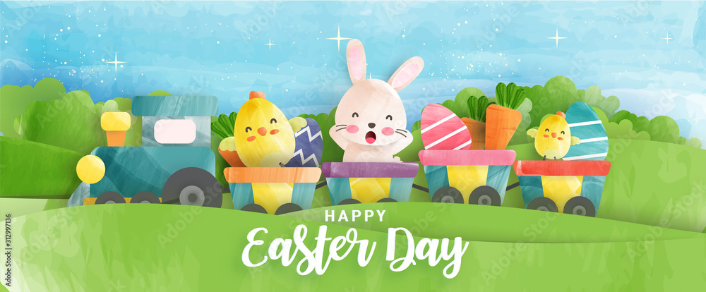 Easter day banner with cute chickens , rabbit and Easter eggs in water color style . <span>plik: #312997136   autor: Nattapohn</span>